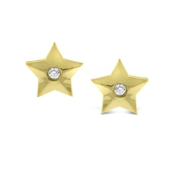 Diamond Star Earrings in 14K Yellow Gold with 2 Diamonds Weighing .03 ct tw