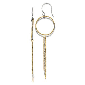 Stainless Steel Polished and Textured Yellow IP Shepherd Hook Earrings
