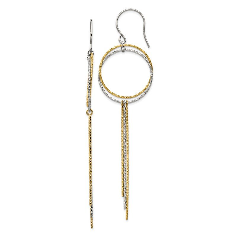 Chisel Stainless Steel Polished and Textured Yellow IP Shepherd Hook Earrings