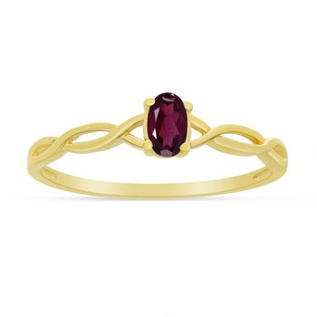 14k Yellow Gold Oval Rhodolite Garnet Ring