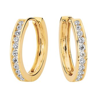 Channel set Diamond Hoops in 14k Yellow Gold (1/2 ct. tw.) GH/SI1-SI2