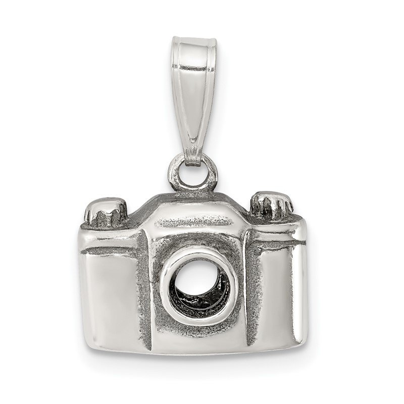 Quality Gold Sterling Silver Antiqued Camera Charm