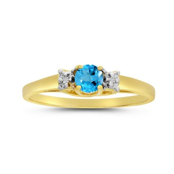 10k Yellow Gold Round Blue Topaz And Diamond Ring