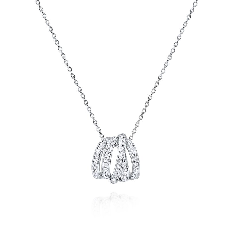 MAZZARESE Fashion Diamond 5 Loop Slider Necklace Set in 14 Kt. Gold
