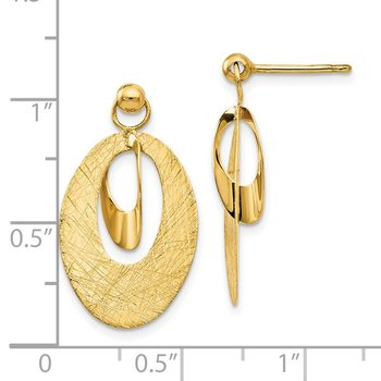Leslie's 14k Polish & Scratch Finish Oval Post Earrings