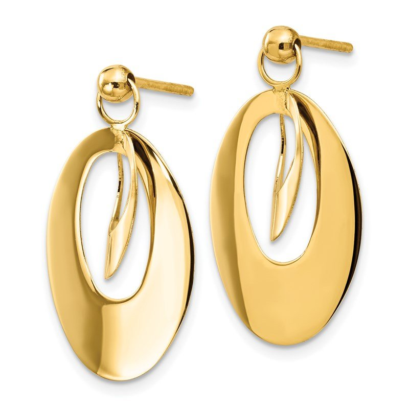Leslie's Leslie's 14K Polished & Scratch Finish Oval Post Earrings