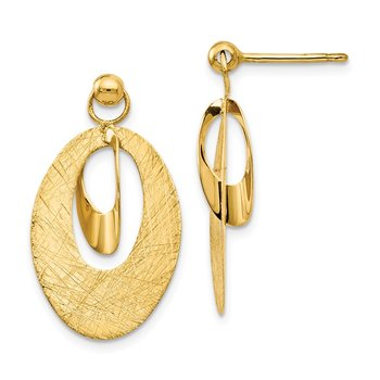 Leslie's 14K Polished & Scratch Finish Oval Post Earrings