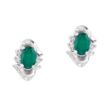 14k White Gold Emerald And Diamond Earrings