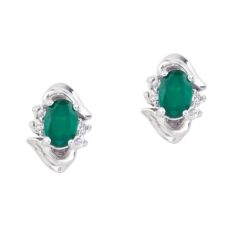Color Merchants 14k White Gold Emerald And Diamond Earrings