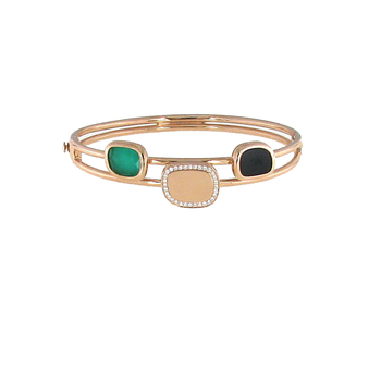 18KT GOLD BANGLE WITH BLACK JADE, DIAMONDS AND GREEN AGATE
