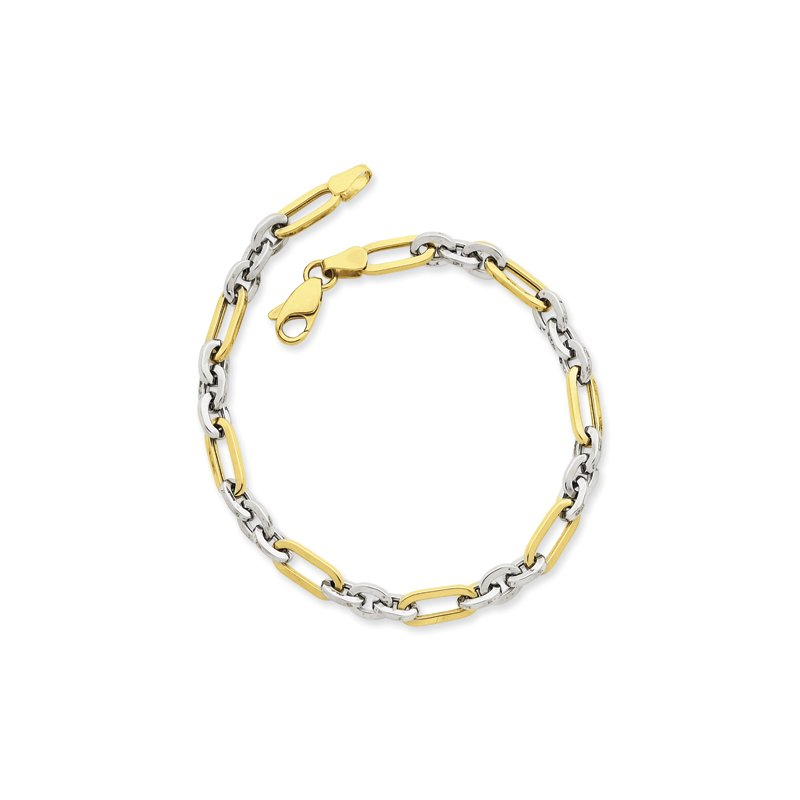 Quality Gold 14k Two-tone Fancy Link Bracelet