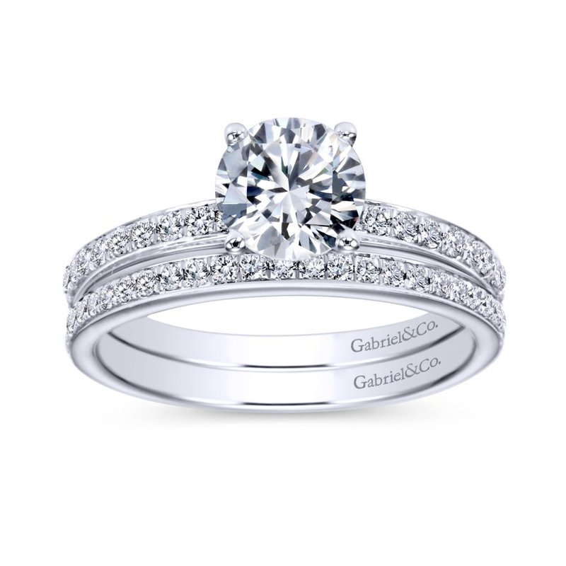 Gabriel  14K White Gold Round Diamond Engagement Ring