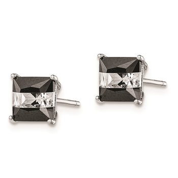 Sterling Silver RH-plated Black/White CZ 6mm Square Post Earrings