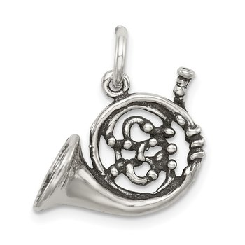 Sterling Silver Antiqued French Horn Charm