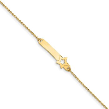 14K Children's Polished Star w/1in ext. ID Bracelet