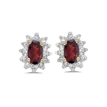 14k Yellow Gold Oval Garnet And Diamond Earrings