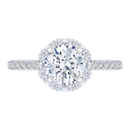 Carizza 14K White Gold Round Cut Diamond Halo Engagement Ring (Semi-Mount)