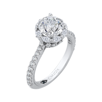 14K White Gold Round Cut Diamond Halo Engagement Ring (Semi-Mount)