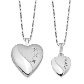 Sterling Silver Rhodium-plated Diamond Polished Satin Heart Locket & Pendan
