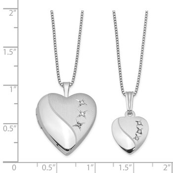 Sterling Silver Rhodium-plated Diamond Pol/Satin Heart Locket & Pendant Set