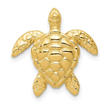 14k Polished Large Sea Turtle Chain Slide
