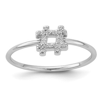 Sterling Silver Rhodium-plated CZ Hashtag Ring
