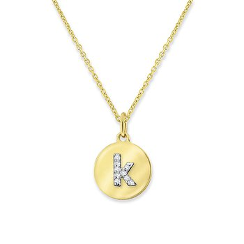 "Diamond Mini Disc Initial ""K"" Necklace in 14k Yellow Gold with 9 Diamonds weighing .03ct tw."