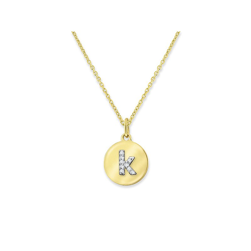 "KC Designs Diamond Mini Disc Initial ""K"" Necklace in 14k Yellow Gold with 9 Diamonds weighing .03ct tw."
