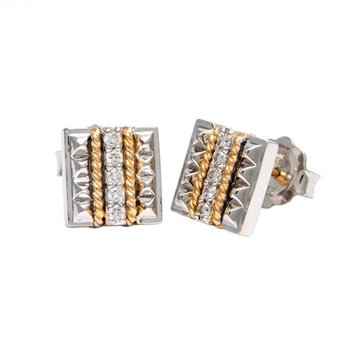 18kt & Sterling Silver Diamond Stud Earrings