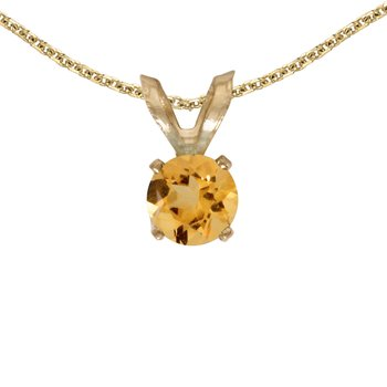 14k Yellow Gold Round Citrine Pendant