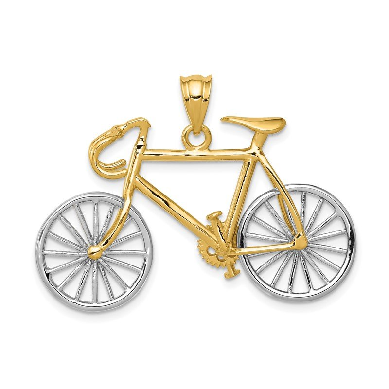 Quality Gold 14k Large Two-tone 3-D Bicycle Pendant