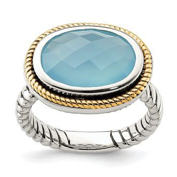 Sterling Silver w/14k Blue Agate Ring