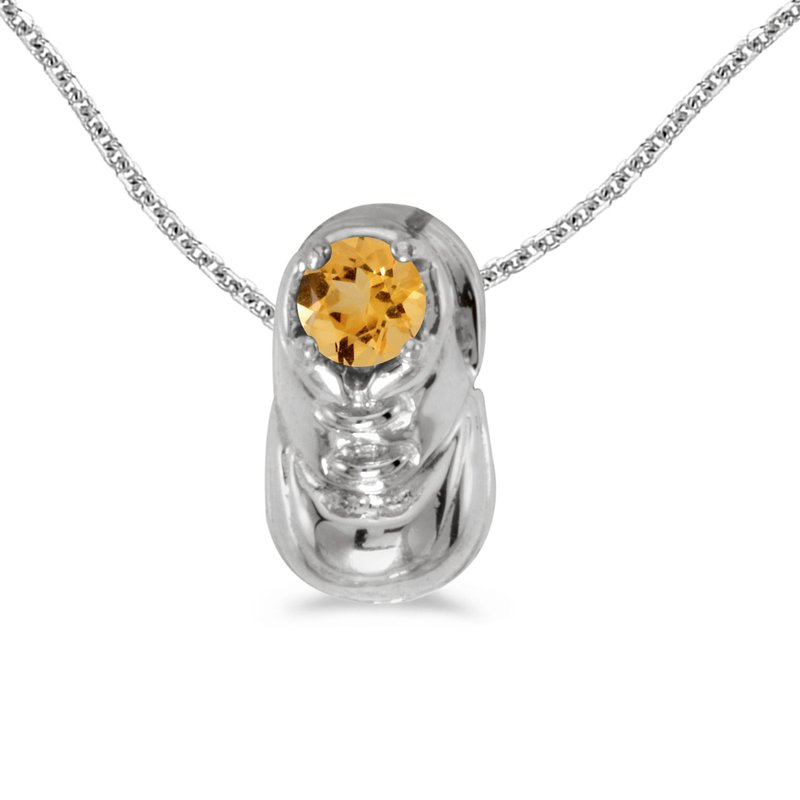 Color Merchants 10k White Gold Round Citrine Baby Bootie Pendant