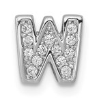 Quality Gold Sterling Silver Rhodium-plated CZ Letter W Initial Slide Charm