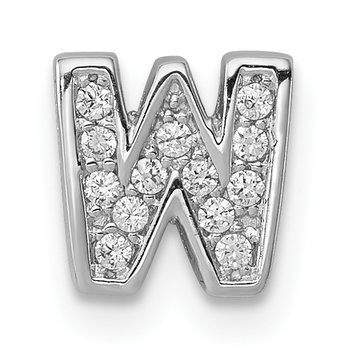 Sterling Silver Rhodium-plated CZ Letter W Initial Slide Charm