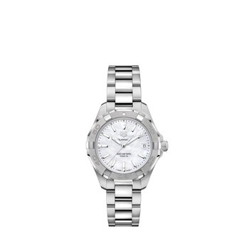 Lady Aquaracer In Stainless Steel. The 32 mm Quartz Watch Has A  Rotating Bezel, White Mother Of Pearl Dial And Steel Bracelet With A Wet-Suit Extension. Model WBD1311.