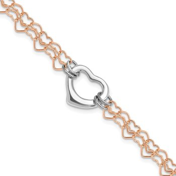 Sterling Silver and Rose Vermeil Polished Fancy Heart Bracelet