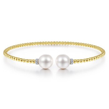 14K Yellow Gold Bujukan Bead Split Bracelet with Pearl and Diamond Caps