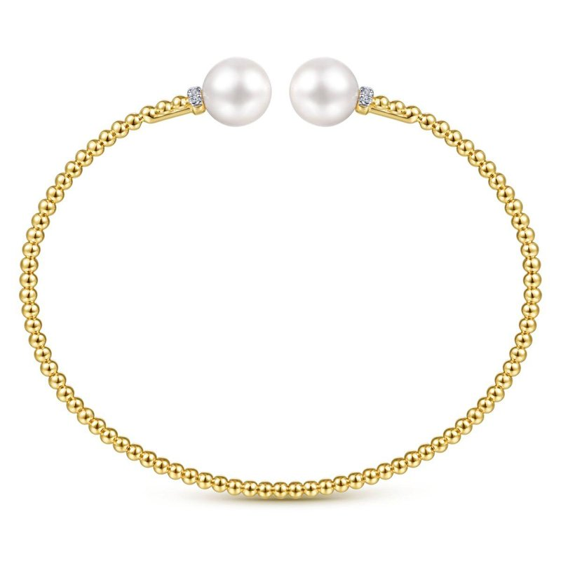 Gabriel Fashion 14K Yellow Gold Bujukan Bead Split Bracelet with Pearl and Diamond Caps