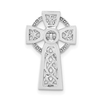 14k White Gold Polished Celtic Cross Slide