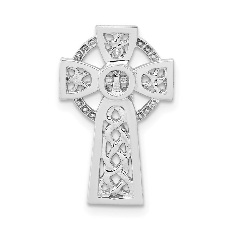 Quality Gold 14k White Gold Polished Celtic Cross Slide