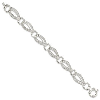 Sterling Silver Polished And Textured Link Bracelet