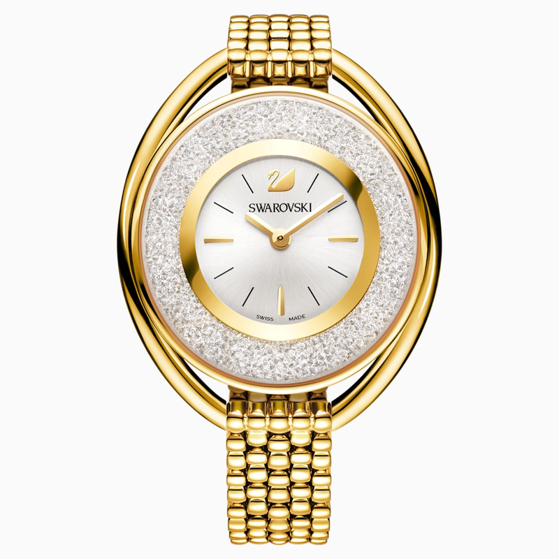 Swarovski Crystalline Oval Watch, Metal bracelet, White, Gold-tone PVD