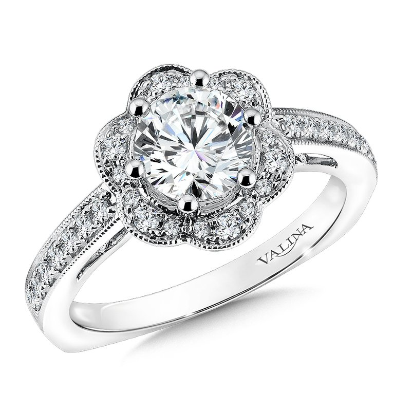 Valina Floral shape halo .28 ct. tw., 1 ct. round center
