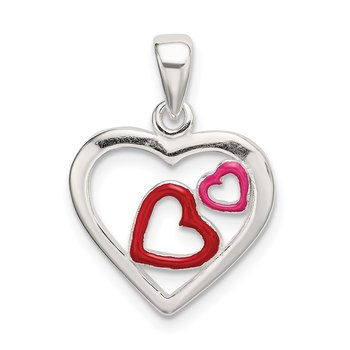 Sterling Silver Polished Red and Pink Enameled Hearts Pendant
