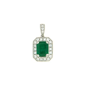 18k White Gold Pendant with Emerald & Diamond