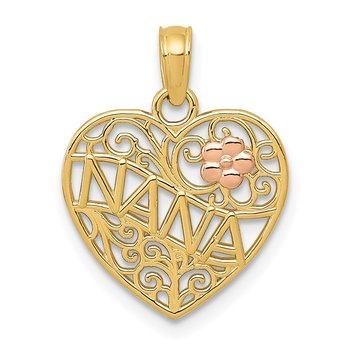 14K Two-tone Polished NANA w/Flower on Heart Pendant