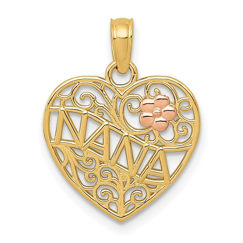 Quality Gold 14K Two-tone Polished NANA w/Flower on Heart Pendant