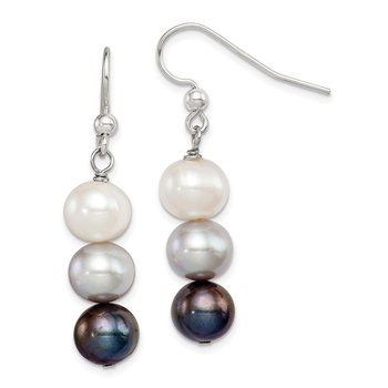 Sterling Silver FW Cultured White/Grey/Black Pearl Earrings