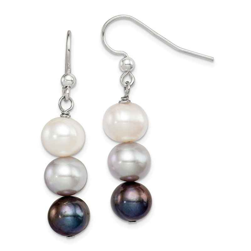 Quality Gold Sterling Silver FW Cultured White/Grey/Black Pearl Earrings